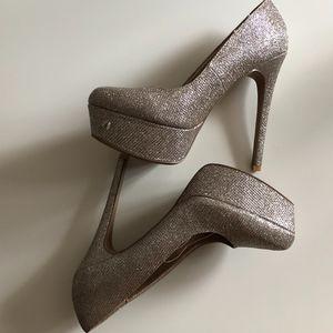 Glitter Gold Platform Heels